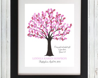Baptism Fingerprint Tree Christening Guestbook Tree Baptism Guest Book Naming Day Thumbprint Nursery Decor Wall Art - Printable Wall Art
