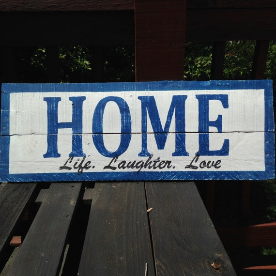 Pallet wall art love and laughter : Home life laughter love pallet wall art