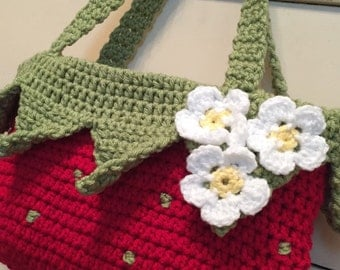 Crochet Strawberry Shortcake Bag
