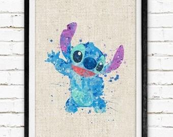 Disney, Stitch, Poster, Watercolor Painting, Wall Art Print, Baby Shower Decor, Nursery Bedroom, Kids Decor, Home Decor, Birthday Gift, 09