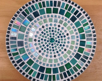 Stunning Mosaic Dish / Bowl in shades of Teal / Dark Green