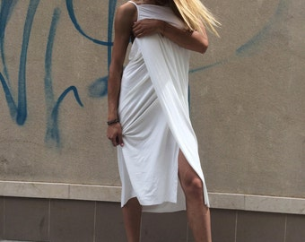 Extravagant White Casual Dress, Open Back Summer Dress, Oversize Maxi Dress, Extravagant Loose Top by SSDfashion