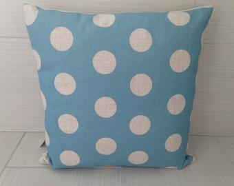 Aqua Polka Dot Pillow Cover  *ON SALE