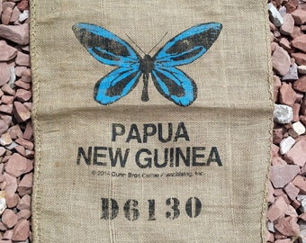 Dunn Bros Burlap Coffee Bag Gunny Sack with Butterfly Print. Wall Art or Hanging, Wedding Decor. DIY Item Fabric Rustic Unique Vintage style