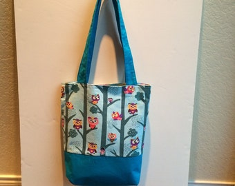 Owl and Butterfly Reversible Handmade Handbag