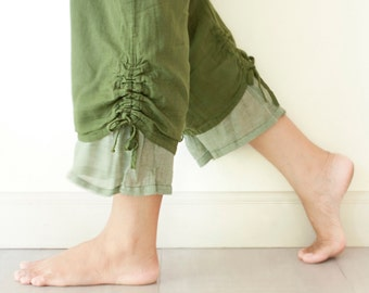 Comfy Cotton Pants with Drawstring in Green