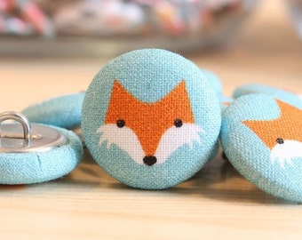 Fabric Covered Buttons -Fox on Teal - 1 Medium Fabric Buttons