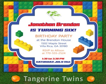 Birthday Party Invitation - Lego Theme