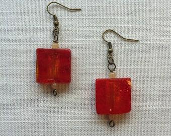 LILY sqaure glass beaded drop earrings