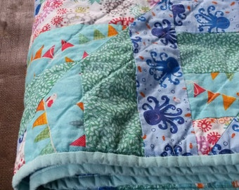 Aquatic-Themed Baby Quilt