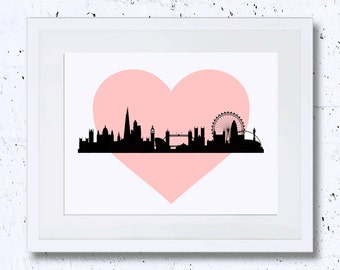 Pink Heart London Print, London Silhouette, London, Nursery Print, Printable Art, Downloadable Print, Wall Print, Cityscape