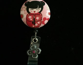 Red China Doll -Nurse Retractable ID Badge Reel/ RN Badge Holder/Doctor Badge Reel/Nurse Badge Holder/Student Nurse badge reel/ nursing gift