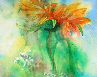 """Print, """" Sunflower in the rain."""" From my  original watercolour and mixed media painting."""