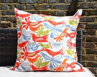 Grey & Orange Scandi Bird Pillow Cover