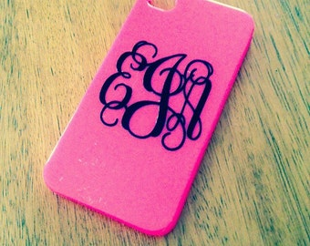 monogram iphone case 4/4s and 5/5s -pink, light pink, seafoam