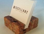 Square Business Card Holder - Crema Bordeaux Granite - Office Desk Home, Desk Accessory, Recycled Granite