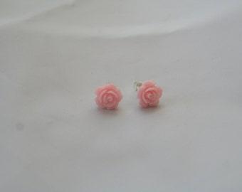 light pink rose-rose earrings - resin earrings - flower earrings - rose studs - rose jewelry - resin rose earrings