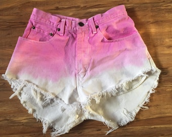 Pink & White Ombre Denim Cutoff Shorts