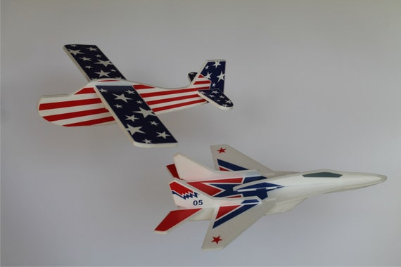 Airplane Toys, AirJet, Airplane for kids, Airplane stars, American patriotic, Glider styrofoam, Outdoor game, 4th of July gift, Set of 2
