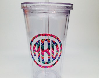 Personalized Lilly Pulitzer Inspired Acrylic Tumbler -16 oz.