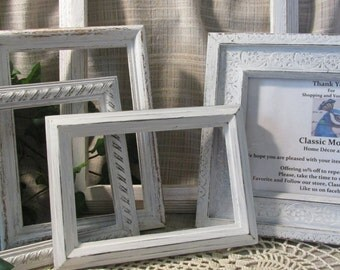 Beautiful set of Picture Photo Frames, Shabby Chic, French Country, Cottage Beach Home Decor, Wedding or Party Display