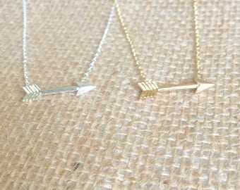 Arrow Necklace small, gold or silver, short dainty delicate arrow necklace