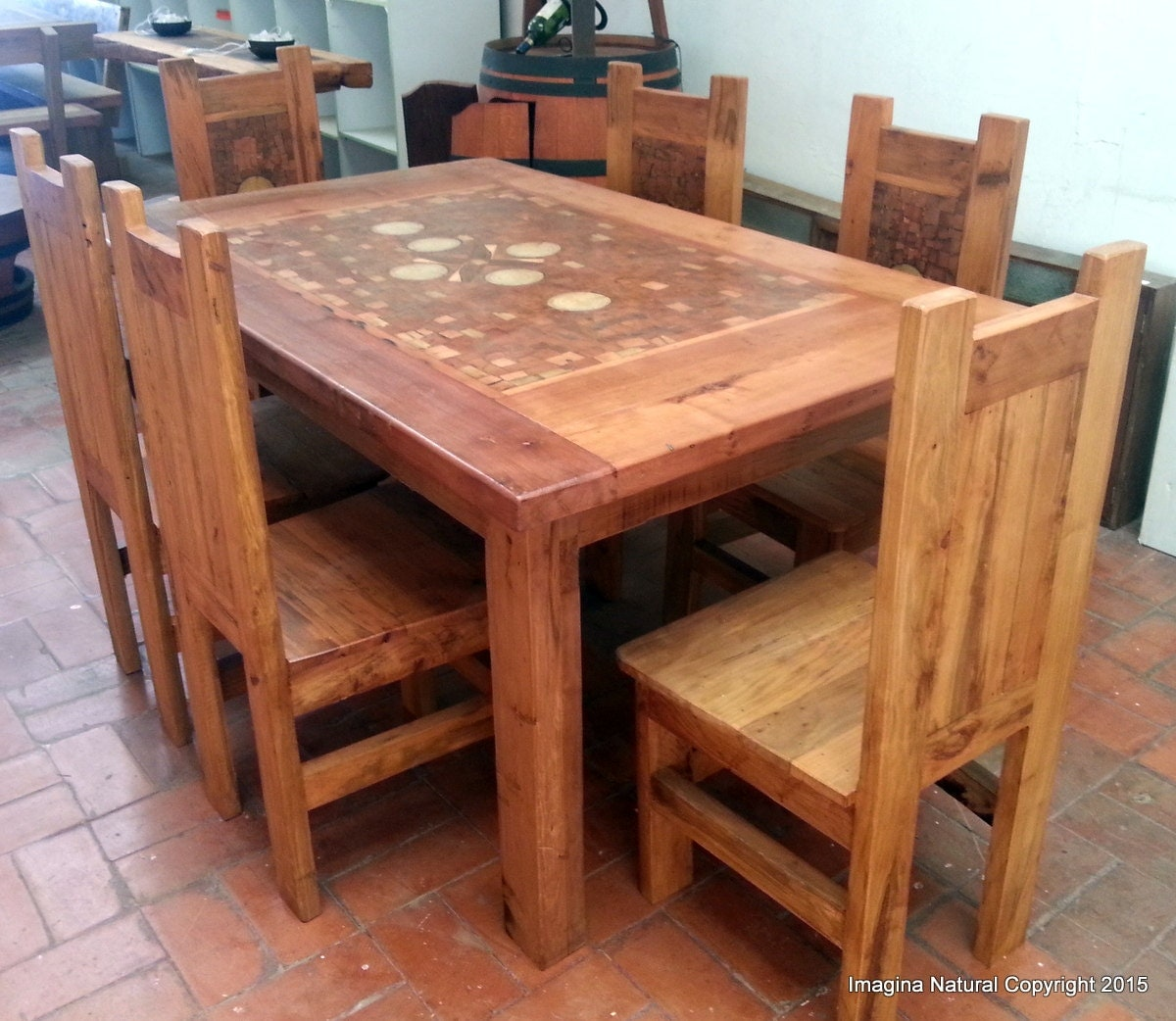 Handmade mosaic dining table with 6 chairs made from - Handmade wooden dining tables ...