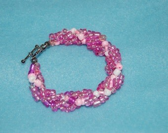 Spiral Rope Chain Seed Bead Bracelet- Breast Cancer Awareness