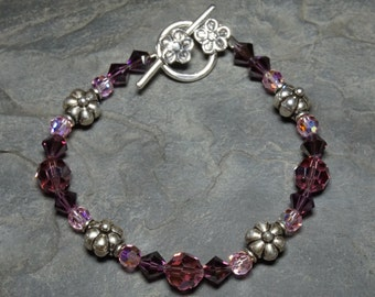Purple and Pink Swarovski Crystal and Sterling Silver Flower Bracelet