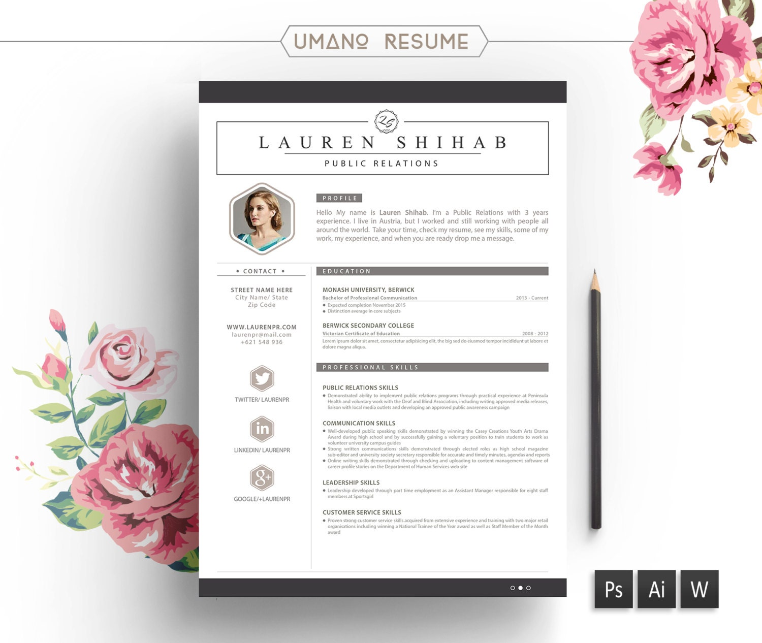 resume template free cover letter for word ai psd diy il fullxfull resume template free cover - Free Creative Resume Templates Word