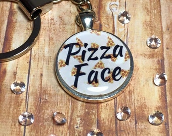 Pizza Face keyring keychain