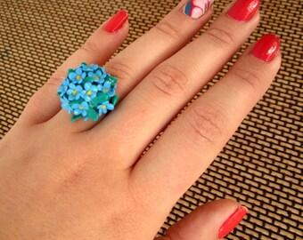 Blue flower ring, Polymer clay cute, pretty flower ring, polymer clay jewelry, spring accessory