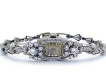 Art Deco 14k White Gold 1.50ct Round Cut Diamond Longines Mechanical Manual Wind Dress Watch 17 Jewels