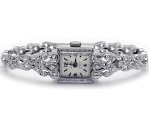 Art Deco 14k White Gold 1ct Roiund Cut Diamond Altair Belmont Mechanical Manual Wind Wrist Dress Watch 17 Jewels