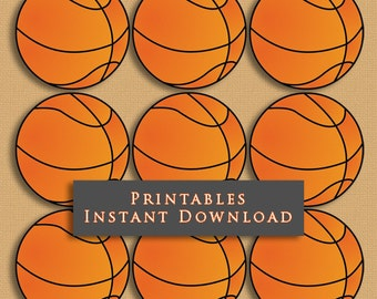"""2.5"""" Basketball Printable Cupcake Toppers Sports Theme Birthday Party DIY Printable INSTANT DOWNLOAD"""