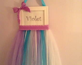 Personalized Tutu hair bow holder hair-hair accessory holder-tulle hair clip holder-name on door