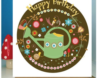 Greetings Cards,Birds,Bugs and Watering Cans, Ideal for Garden Lovers,Birthday Card