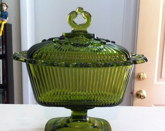 Indiana Glass Lace Edge candy dish with lid