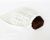 Natural Linen Bread Bag Pure Linen Reusable Bread Keeper White Green Checkers Checkered Fabric 100% Flax Linen linens for kitchen Linen Gift