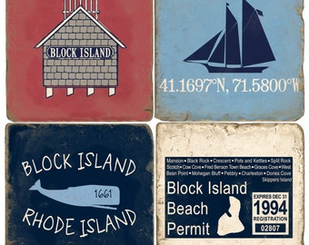 Block Island Italian Marble Coasters