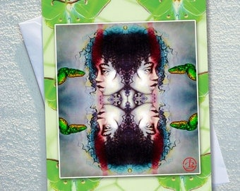 "GREETING card,Indigenous women with green tree snake,framed by apple green Luna moths,ecofriendly,sustainable card,4.13"" x 5.82"""