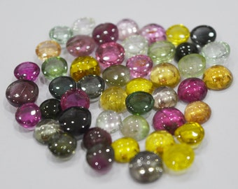 Natural multi colour tourmaline in various pieces lot 4X4 mm to 7X7 mm approx. round loose gemstone cabochon