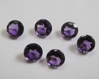 25-P Wholesale Lot Of  purple Amethyst 5X5 MM Round Cut Faceted Calibrated Loose Gemstone