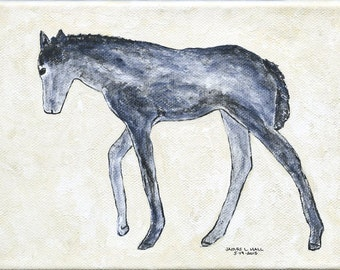 "Original Pony Painting, 5"" X 7"" Gallery Wrapped Canvas, Acrylic Painting, Animal Painting, Equine Art, Children's Art"