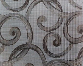 Large Scroll Pattern Fabric in Beige / Taupe / Chocolate Brown