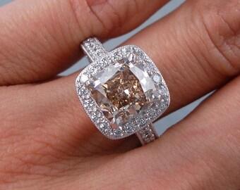 3.82 ctw Cushion Cut Diamond Ring Natural Chocolate Color/VS1 Clarity Enhanced Diamond