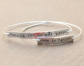 Though she be but little, she is fierce - set of 2 wired stamped bangles
