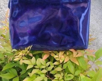 Metalic bule Pouch / Make-up bag, clutch bag, purse