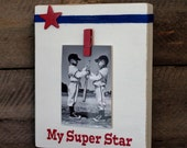 Sports Wooden Frame ~ Stand Alone ~   8x10 Wooden ~ Great Gift ~ Show Off Your Super Star ~ Red White Blue ~ Sports