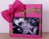 Pink Chevron  Block Frame ~ 4x6 Picture Holders ~ Pink Picture Frame ~ Frame With Clothesping ~ Girl's Room Decor ~ Stand Alone Frame
